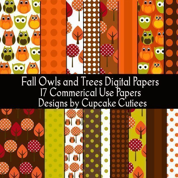 Fall Owl and Tree Paper Pack  Cupcake Cutiees    Mygrafico