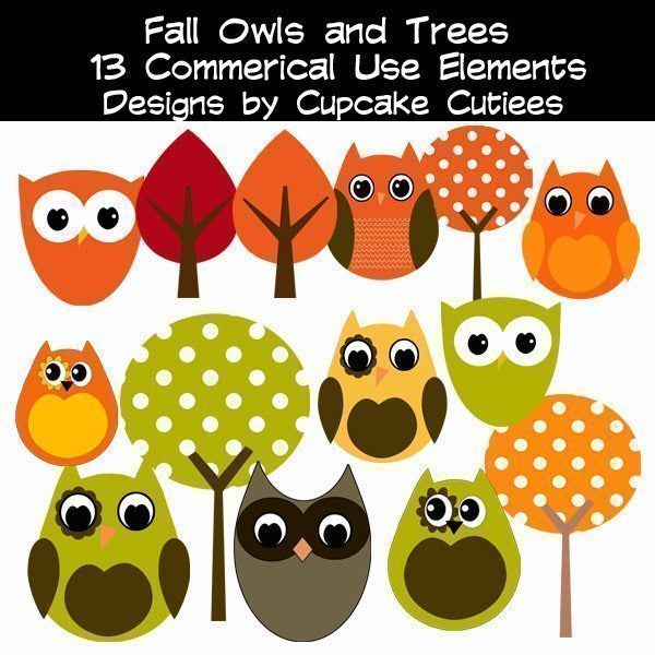 Fall Owls and Trees  Cupcake Cutiees    Mygrafico