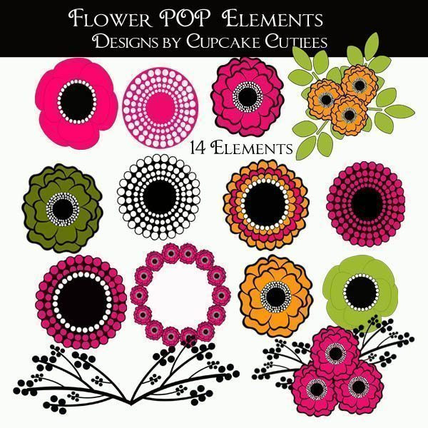 Flower POP modern Elements  Cupcake Cutiees    Mygrafico