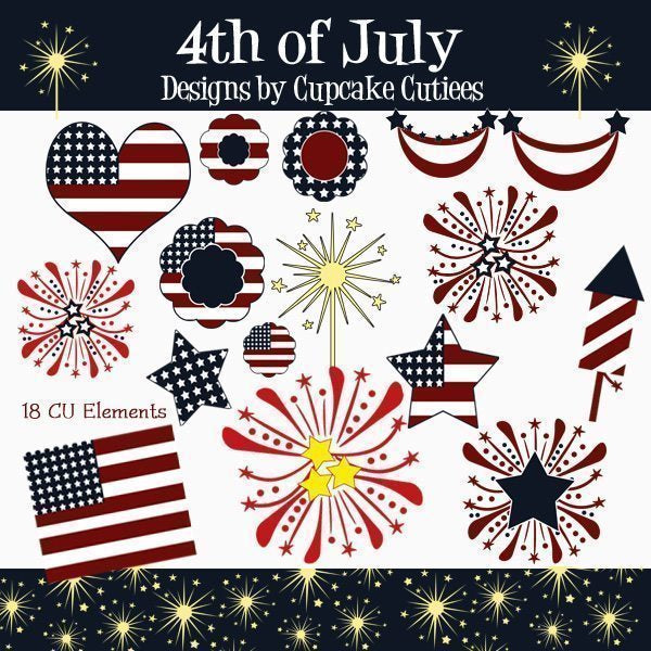 4th Of July Elements Clipart Cupcake Cutiees    Mygrafico