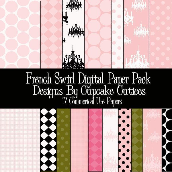French Swirl Papers  Cupcake Cutiees    Mygrafico