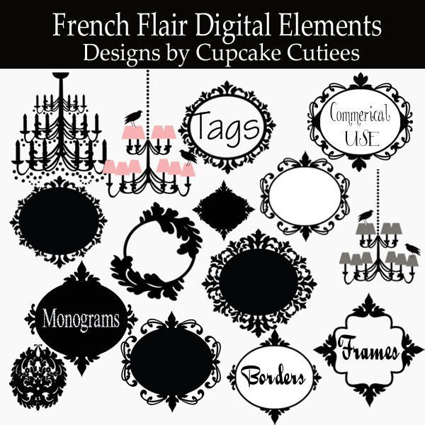 French Flair Tags  Frames and Clip Art  Cupcake Cutiees    Mygrafico