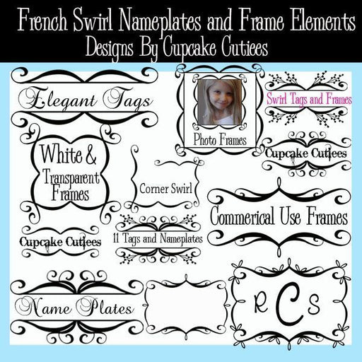 French Swirl Nameplates Tags and Frames  Cupcake Cutiees    Mygrafico