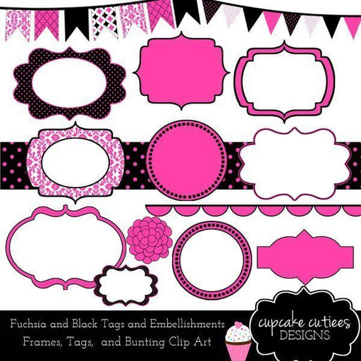 Fuchsia and Black Digital Frames and Tags  Cupcake Cutiees    Mygrafico