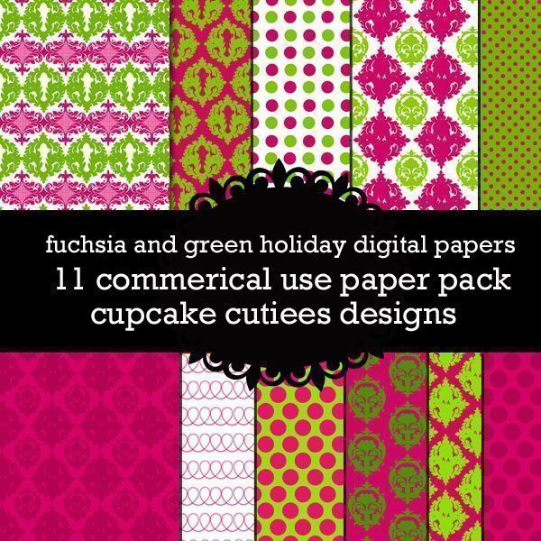 Fuchsia Green Holiday Papers  Cupcake Cutiees    Mygrafico