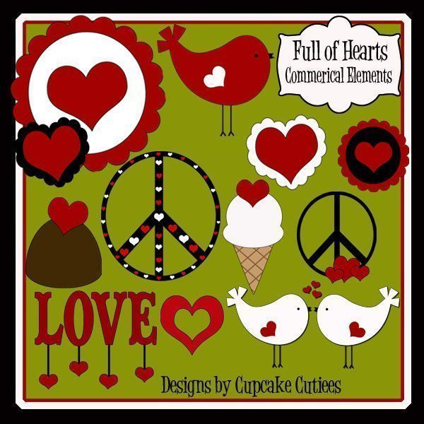 Full of Hearts Valentine Clipart  Cupcake Cutiees    Mygrafico