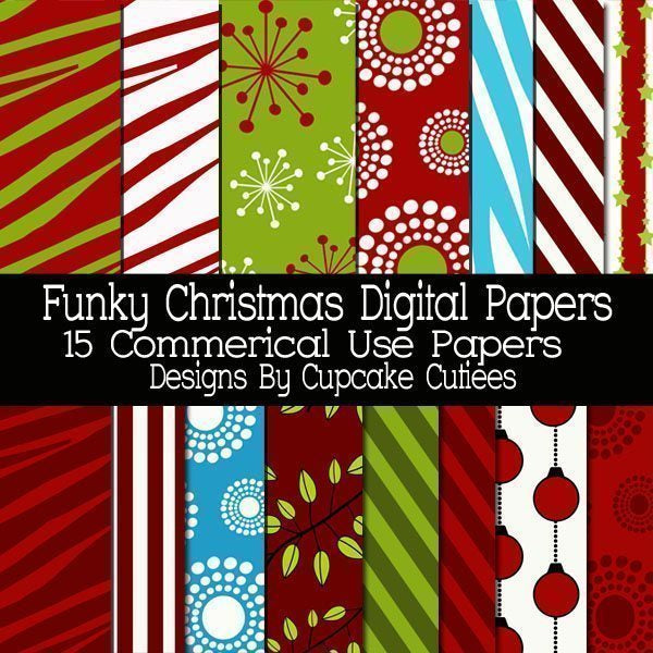 Funky Christmas Papers  Cupcake Cutiees    Mygrafico