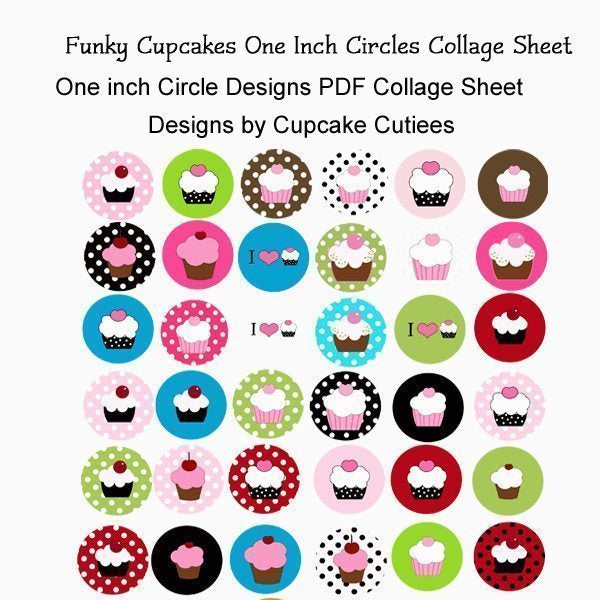 Funky Cupcake One inch Circle Digital Collage Sheet Printable Templates Cupcake Cutiees    Mygrafico