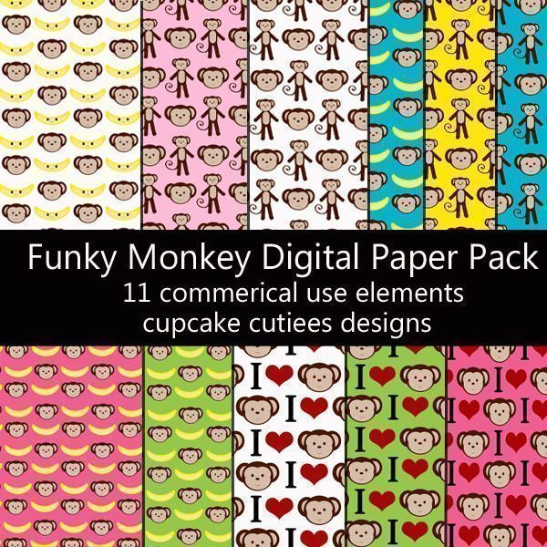 Funky Monkey Papers  Cupcake Cutiees    Mygrafico
