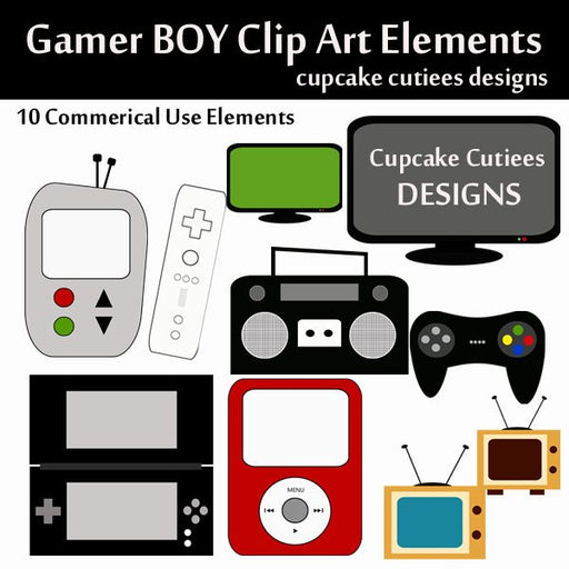 Gamer Boy Elements  Cupcake Cutiees    Mygrafico
