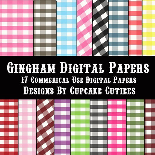 Gingham Plaid Paper Pack  Cupcake Cutiees    Mygrafico