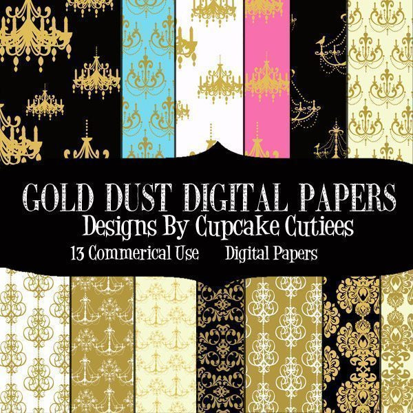 Gold Dust Chandelier Damask Paper  Cupcake Cutiees    Mygrafico