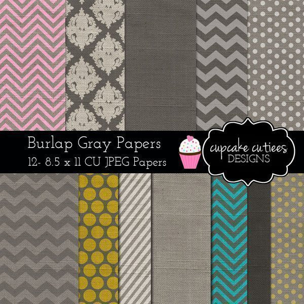 Burlap Gray Digital Paper Pack  Cupcake Cutiees    Mygrafico