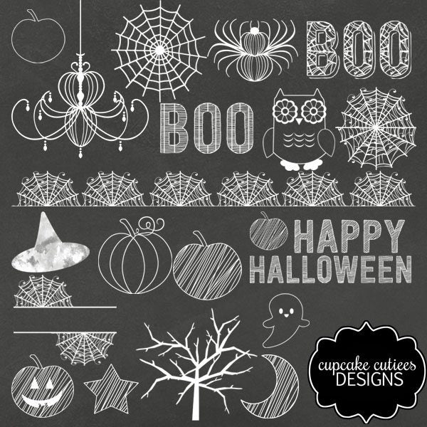 Halloween Chalkboard Clip Art Elements  Cupcake Cutiees    Mygrafico