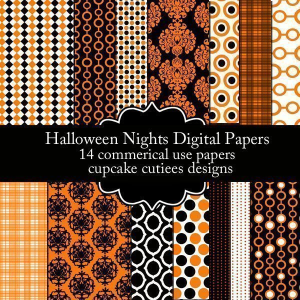 Halloween Nights Papers  Cupcake Cutiees    Mygrafico