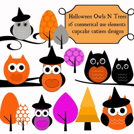 Halloween Owls and Branches  Cupcake Cutiees    Mygrafico