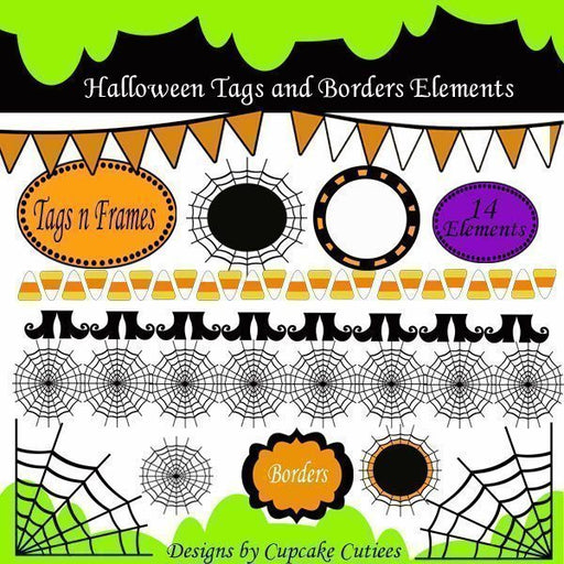 Halloween Borders Frames and Tags  Cupcake Cutiees    Mygrafico