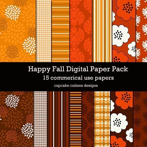 Happy Fall Papers  Cupcake Cutiees    Mygrafico