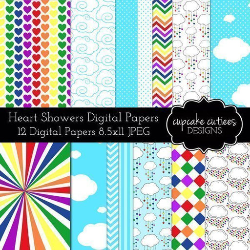 Hearts and Showers Digital Paper Pack  Cupcake Cutiees    Mygrafico