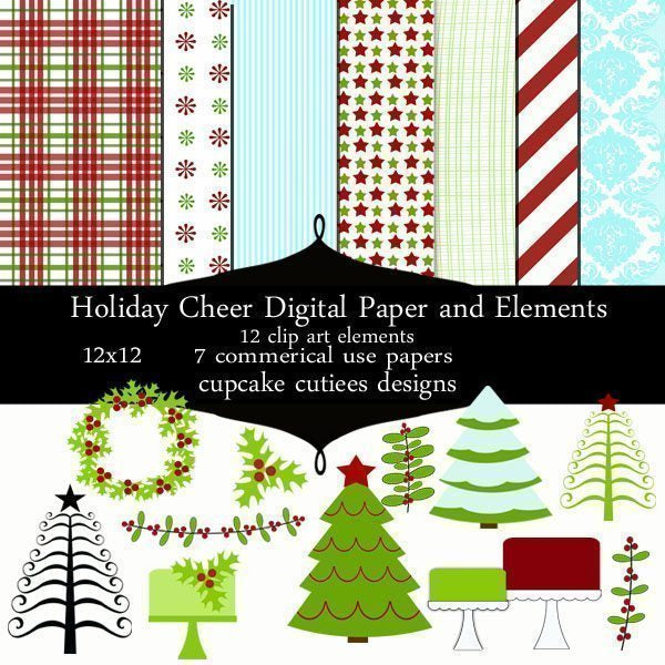 Holiday Cheer Papers and Elements  Cupcake Cutiees    Mygrafico