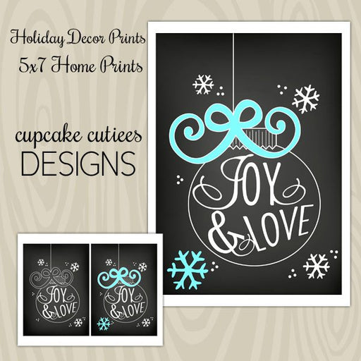 Chalkboard Christmas Joy Home Decor Digital Wall Art Wall Art Cupcake Cutiees    Mygrafico