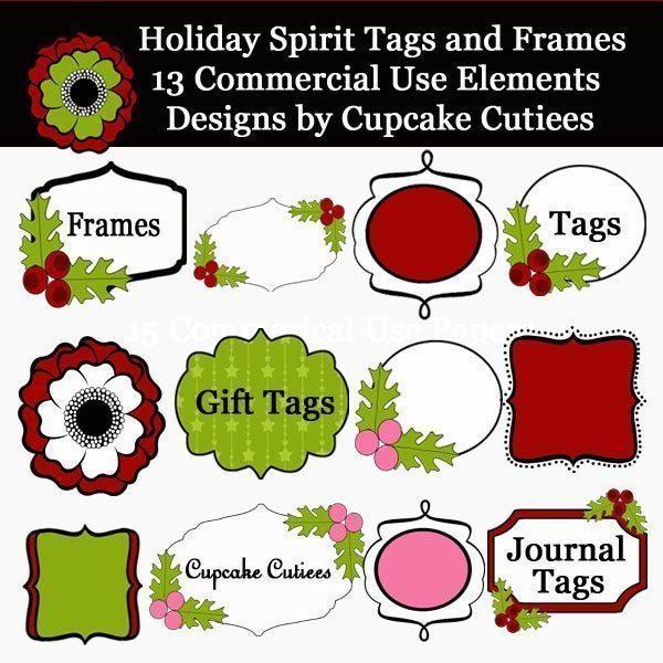 Holiday Spirit Tags and Frames  Cupcake Cutiees    Mygrafico
