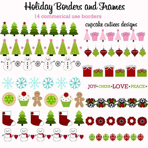 Holiday Borders  Cupcake Cutiees    Mygrafico
