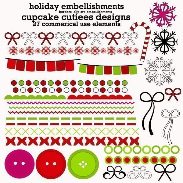 Holiday Embellishements  Cupcake Cutiees    Mygrafico