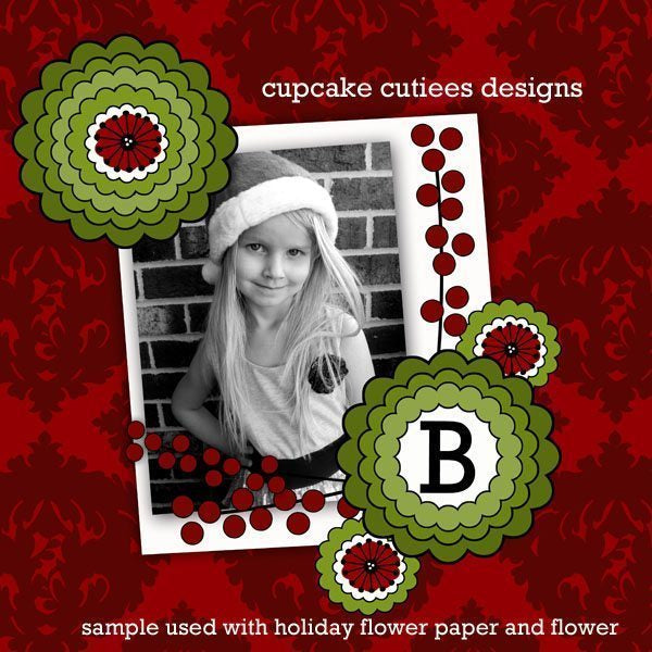 Holiday Flower Papers  Cupcake Cutiees    Mygrafico