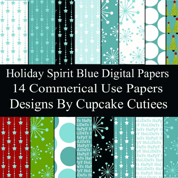 Holiday Blue Spirit Papers  Cupcake Cutiees    Mygrafico