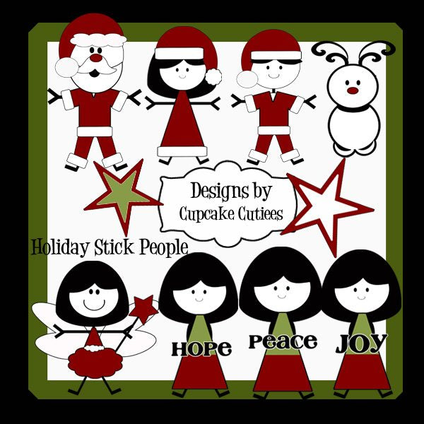 Christmas Holiday Stick People  Cupcake Cutiees    Mygrafico