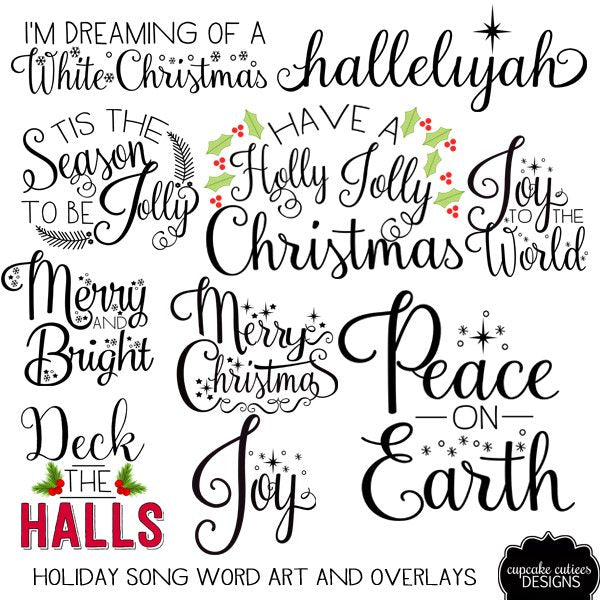 Holiday Songs Word Clip Art Photography Overlays  Cupcake Cutiees    Mygrafico