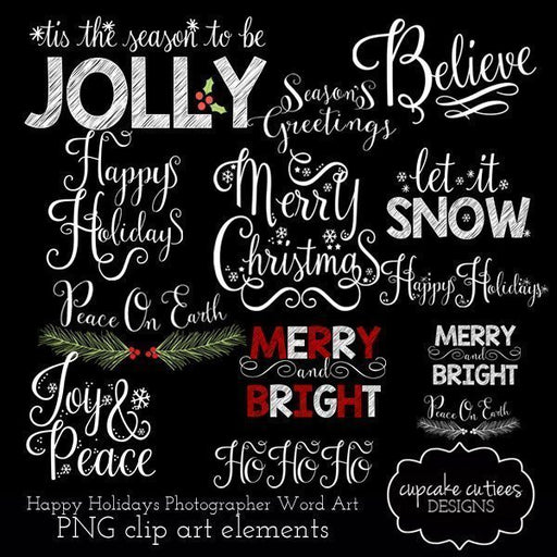 Happy Holidays Photographer Word Art Overlays  Cupcake Cutiees    Mygrafico