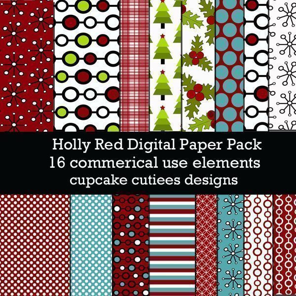 Holly Red Christmas  Papers  Cupcake Cutiees    Mygrafico