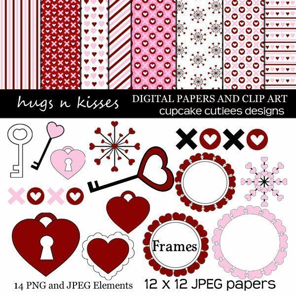 Hugs And Kisses Valentine Clipart and Papers  Cupcake Cutiees    Mygrafico