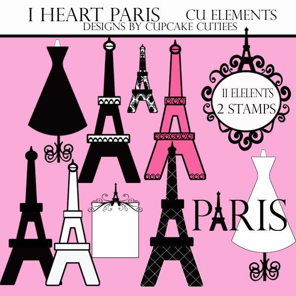 I Heart Paris Elements Cliparts Cupcake Cutiees    Mygrafico