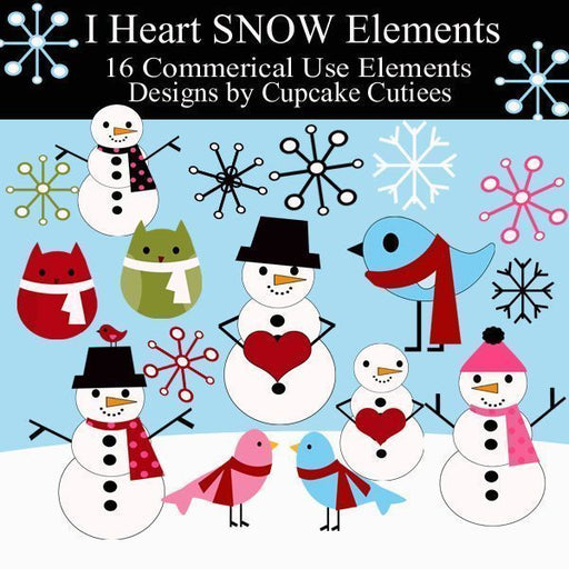 I heart SNOW Elements  Cupcake Cutiees    Mygrafico