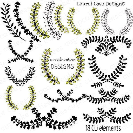 Laurel Love Digital Clip art Frames and Tags  Cupcake Cutiees    Mygrafico