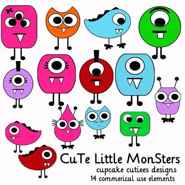 Cute Little Monsters  Cupcake Cutiees    Mygrafico