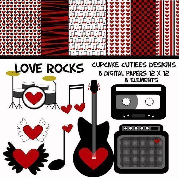 Love Rocks Valentine Clipart and Papers  Cupcake Cutiees    Mygrafico