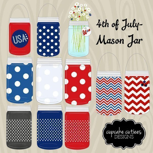 Mason jar- Clip Art Set 4th Of July  Cupcake Cutiees    Mygrafico