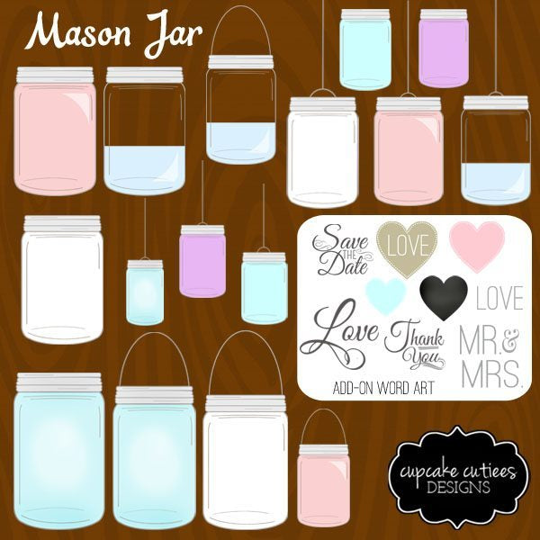 Mason Jar Digital Clip Art - Build Me  Cupcake Cutiees    Mygrafico