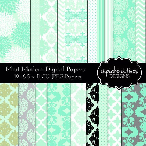 Mint Modern Damask Papers  Cupcake Cutiees    Mygrafico