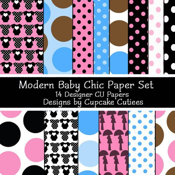 Modern Baby Chic Polka and Dots Papers  Cupcake Cutiees    Mygrafico