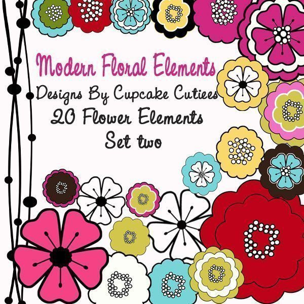 Mod Flower Element Set 2 Cliparts Cupcake Cutiees    Mygrafico