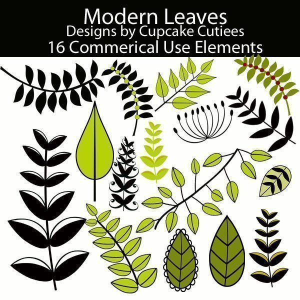 Modern Leaves and Branches Elements  Cupcake Cutiees    Mygrafico