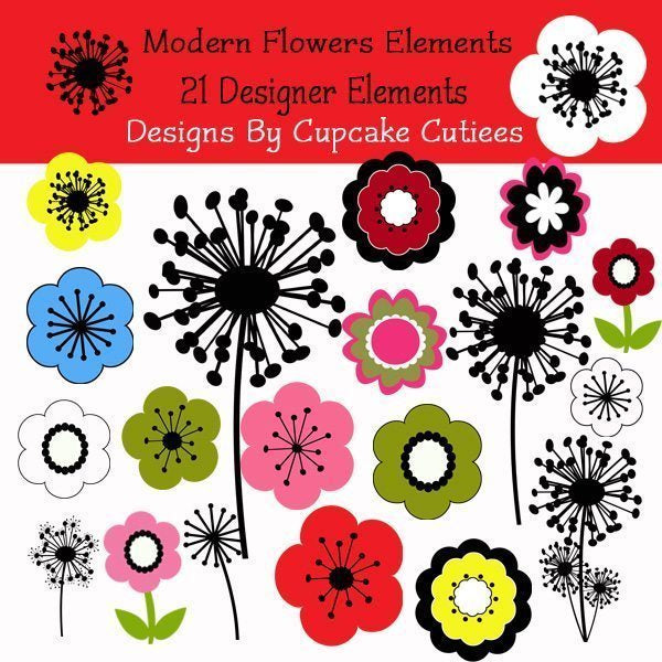 Modern Flowers Elements  Cupcake Cutiees    Mygrafico