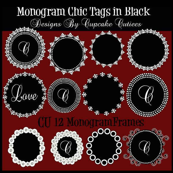 Chic Monogram Circles in Black Printable Templates Cupcake Cutiees    Mygrafico
