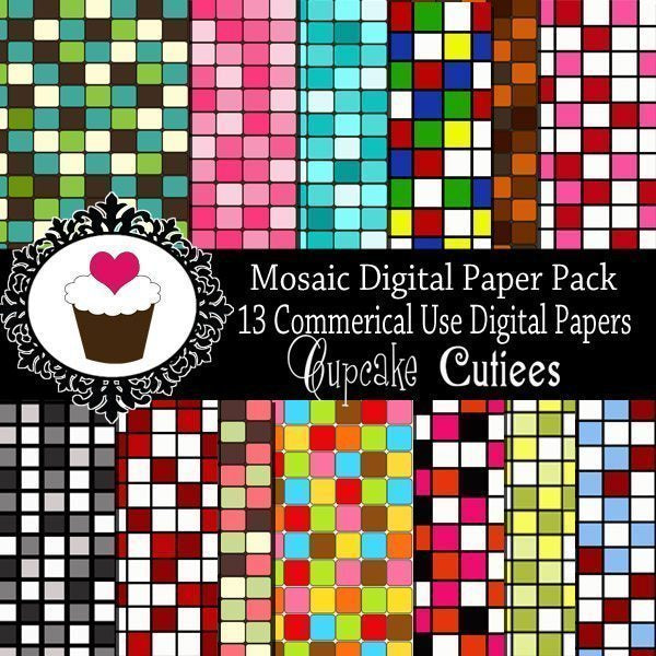 Mosaic Digital Papers  Cupcake Cutiees    Mygrafico