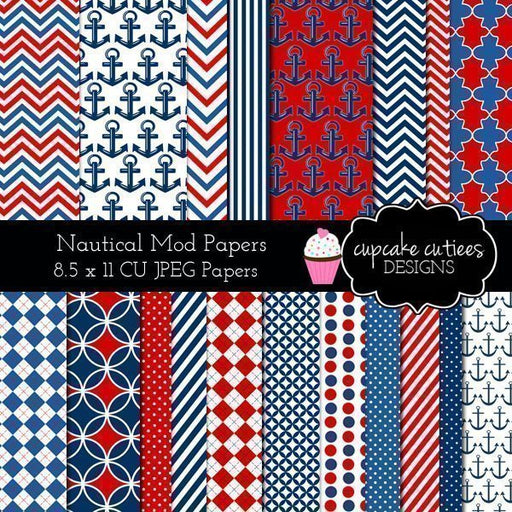 Nautical Modern Digital Paper Pack Digital Papers & Backgrounds Cupcake Cutiees    Mygrafico